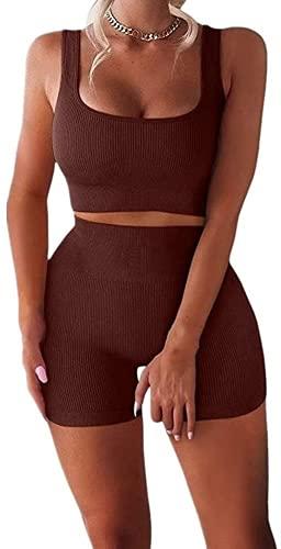 ABUCIYO Women's Workout Sets 2 Piece Seamless High Waist Shorts with Tank Crop Tops Sport Bra Yoga Tracksuit (Large,Dark Brwon)