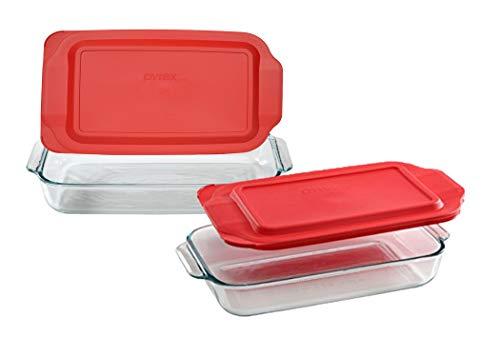 Pyrex Basics Clear Glass Baking Dishes, 1 (3 Quart) Oblong Dish and 1 (2 Quart) Oblong Dish with Red Plastic Lids