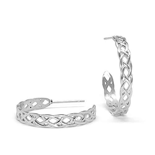 Loralyn Designs Stainless Steel Braided Hoop Stud Earrings Round Medium (1 Inch)