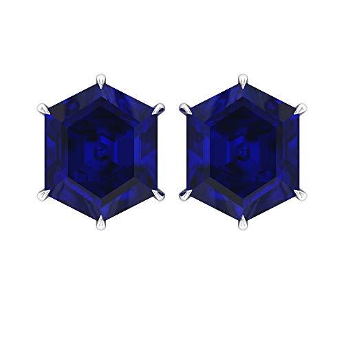 7 CT Creados en Laboratorio Zafiro Azul Solitario Pendientes (10 x 8 mm, medio corte de rosa holandesa, zafiro azul creado en laboratorio), 14K Oro blanco, Par