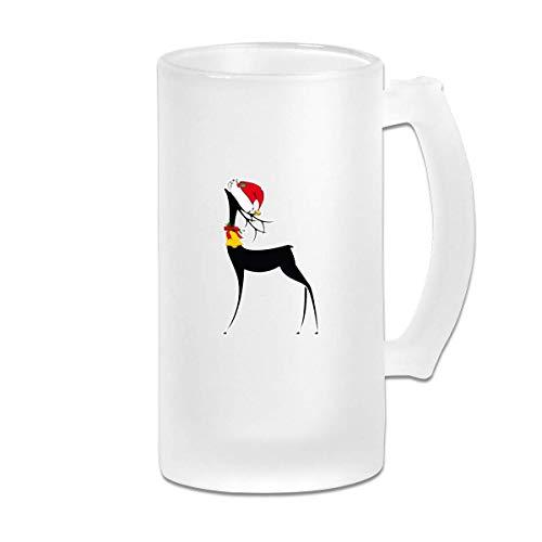 Bicchiere Di Renne Di Natale Per Bar Stampato 16.9 Oz Vetro Smerigliato Boccale Di Birra Tazza Con Manici Bicchiere Di Succo Di Bevanda