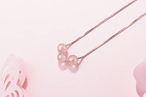 Collar Collar De Cuentas De Cristal De Fresa Natural De Moda Simple De Plata De Ley 925 para Mujer, Collar De Cadena Corta De Plata