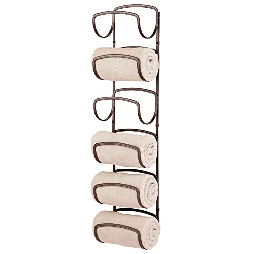 mDesign Metal Towel Shelves – Towel Rack for The Bathroom with 6 Compartments – Practical Bathroom Accessories for Both Large and Small Towels – Bronze