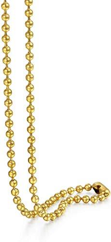 LBBYMX Co.,ltd Collar 3mm Hombres con Cuentas Collar Cadena de Plata Color de la Bola de Cuentas Cadena de Acero Inoxidable para Las Mujeres al por Mayor joyería 24 Collar