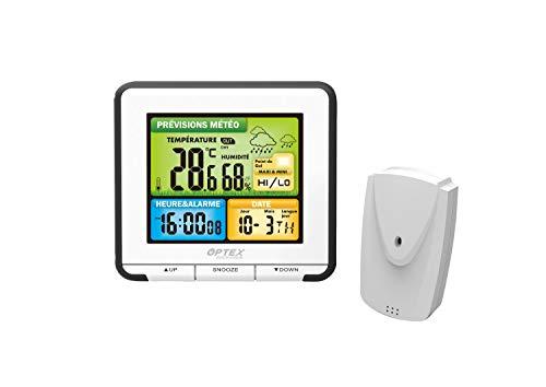Optex – Estación meteorológica táctil, color, temperatura interior Ext, humedad, previsiones meteorológicas, retroiluminación.