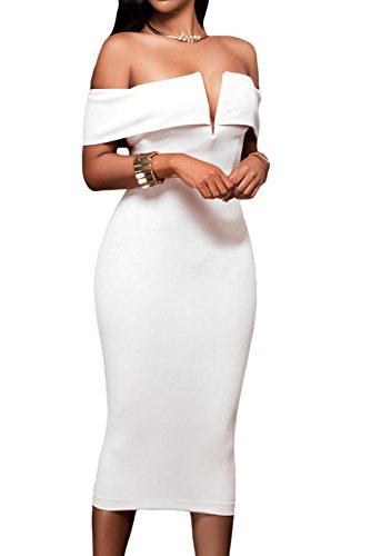 AlvaQ Women Off The Shoulder Evening Bodycon Club Midi Dress XX-Large White
