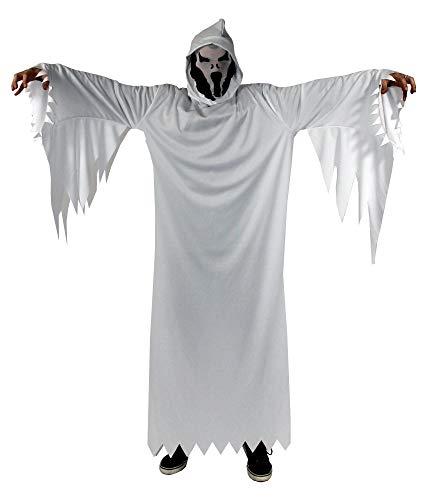 Foxxeo weißes Geister Kostüm für Erwachsene - Herren-Größe M-XXXL - Herren Damen Halloween Fasching Karneval Größe L-XL