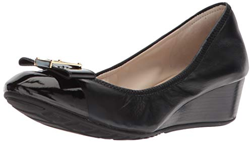Cole Haan Women's Emory Bow Wedge (40MM) Pump, Black Leather, 8.5 B US