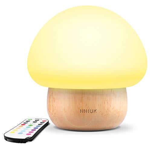 Luce notturna per i bambini, NNIUK Lampada a fungo a LED Silicone Con telecomando senza fili 16 Colore diverso Per la camera dei bambini - spina dell'UE