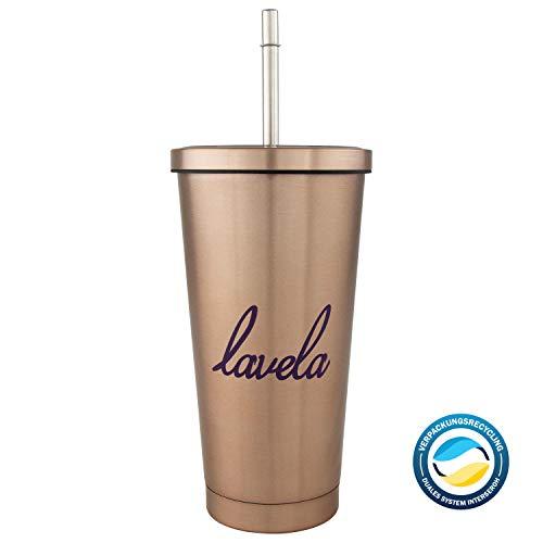 lavela - doppelwandiger Edelstahl Becher in 500 ml mit Vakuumisolierung und Strohhalm (Kaffeebecher/Teebecher/Tumbler)