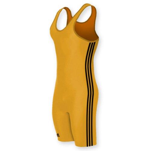 adidas aS102s Lycra 3 Stripe Wrestling Singlet -:Athletic Gold/Black -...