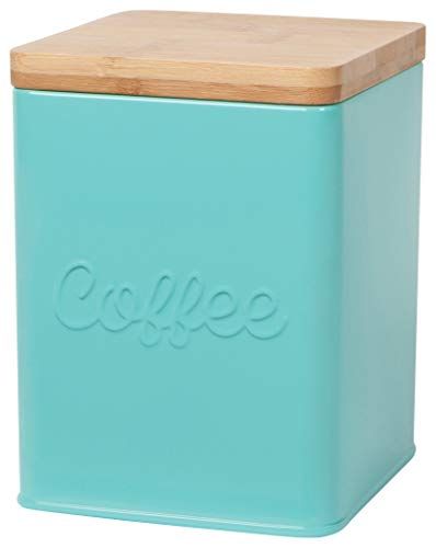 Now Designs Square Coffee Tin, Turquoise, Vintage Script Print