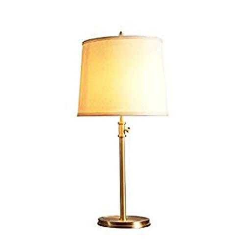 JCCOZ-URG GAI Hua Inicio de Mesa Lámpara de Cobre Estadounidense Tela Lámpara de Mesa Sala Dormitorio Lámparas Lámpara de cabecera de habitación Simple (Color: Oro) URG