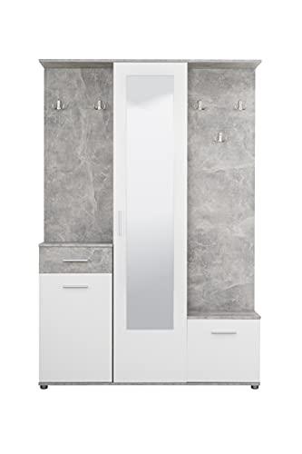 Mobile da ingresso con armadio, portascarpe, specchio cassetto ed attaccapanni bianco con finiture effetto cemento, 133x197x33 cm