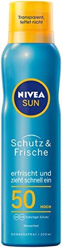 Nivea Sun Schutz & Frische LSF 50 Transparentes Sonnenspray, 1er Pack (1 x 200 ml)