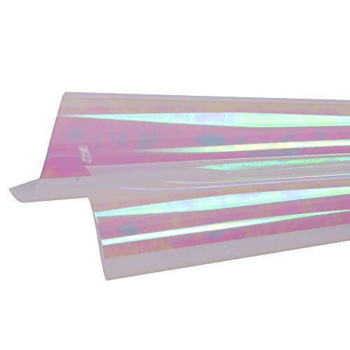 HOHO Holographisches Laser Wärmeübertragung Vinyl glänzend Farbe Drücken Druck, Papier, Folie, DIY Stoffe (50cmx100cm) 50 x 100 cm Rainbow red