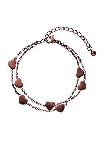 FAYE ® Love Chain Coffee Armband Damen - Armkette mit edlem Anhänger - Längenverstellbar - Aus hochwertigem Edelstahl - Braun
