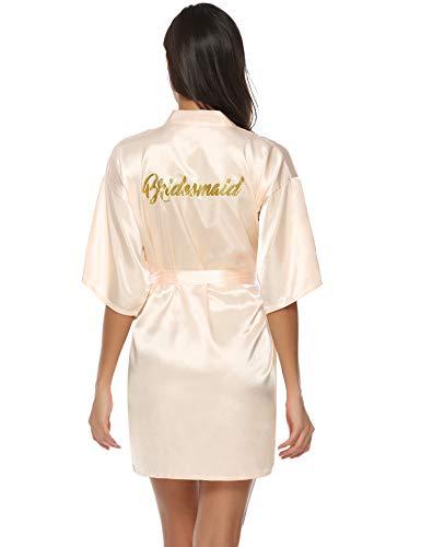 Aibrou Damen Kimono Morgenmantel Kurz Satin Robe Bademantel Nachtwäsche Sleepwear V Ausschnitt mit Gürtel für Party Hochzeit Braut Brautjungfern (Champagne(Brautjungfern), Small)