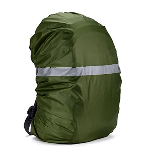 Silfrae Waterproof Rucksack Cover Backpack Rain Cover 30L-100L for Travel, Climbing, Hiking and Outdoor Activities (210D&Reflective-Army Green, 80L-90L)