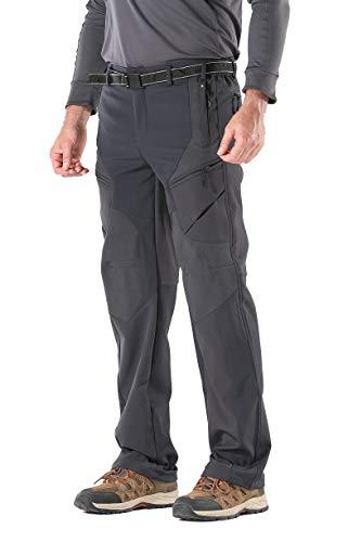 KORAMAN Hombres de al Aire Libre Resistente al Viento Softshell cálido de Forro Polar montaña Senderismo Pantalones de esquí para Mujer, Hombre, Color Gris, tamaño Large