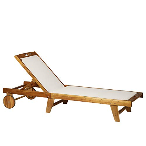 Outsunny Outdoor Acacia Wood Texteline Beach Sun Lounger Garden Patio Sunbed Recliner Chaise Adjustable Backrest with Wheels