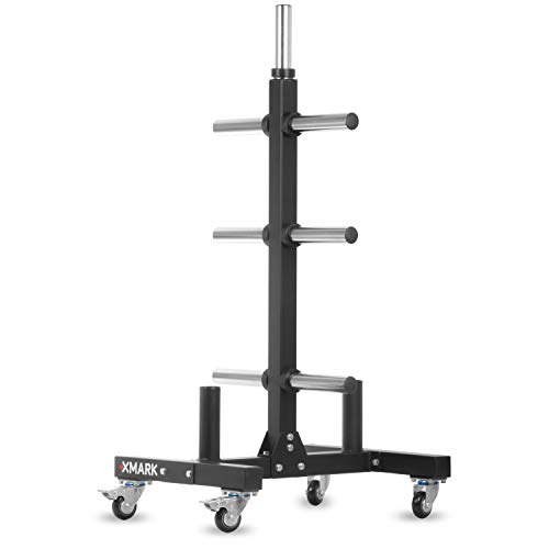 XMark Commercial Olympic Weight Plate Vertical Storage Tree, 750 lb Capacity, with Two Bar Holders and Transport Wheels