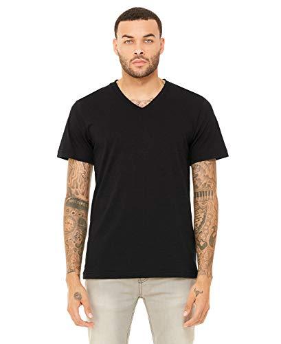 Yoga Clothing For You Mens Tri Blend V-Neck Tee Shirt, L Black Heather