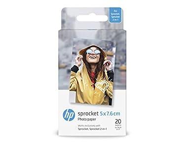 HP ZINK W4Z13A - Papel Fotográfico Adhesivo (20 hojas/5 x 7,6 cm), Blanco