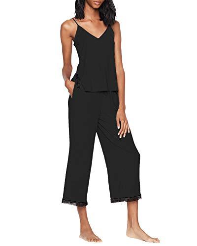 SUNNYME Las mujeres Capri Pijamas Conjuntos De Manga Corta Volantes Trim Tops Pantalones Cortos De Verano Pijama Suelto Ropa De Dormir