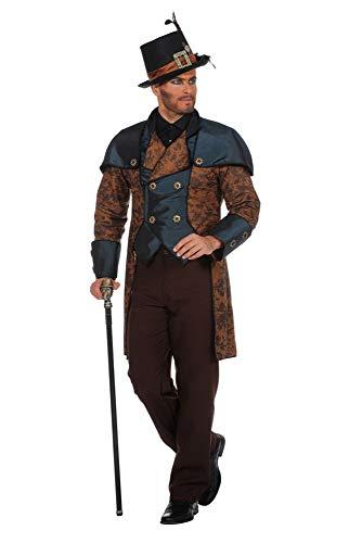 shoperama Steampunk Herren Anzug Braun/Blau Gehrock Hose Kostüm viktorianisch hochwertig Mantel Jacke viktorianisch Industrial, Größe:60