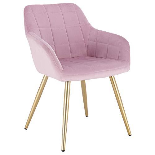 WOLTU® Esszimmerstuhl BH232rs-1 1 Stück Küchenstuhl Polsterstuhl Wohnzimmerstuhl Sessel mit Armlehne, Sitzfläche aus Samt, Gold Beine aus Metall, Rosa