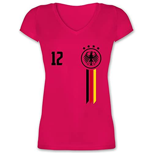 Fußball-Europameisterschaft 2021-12. Mann Deutschland EM - M - Fuchsia - fußball Trikot Frauen - XO1525 - Damen T-Shirt mit V-Ausschnitt