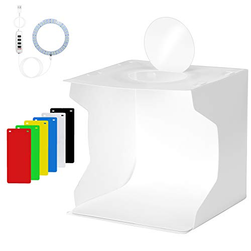 Light Box Photography, nezababy 9x9 Photo Light Box 72 LED Dimmable Lights Portable Folding Studio Light Box with 6 Colors EVA Backdrops Photography Light Box