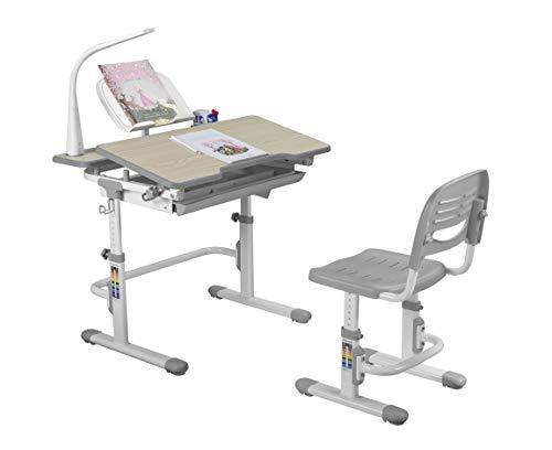 FD FUN DESK Lavoro Grey Schülerschreibtisch höhenverstellbar Kinderschreibtisch neigungsverstellbar Kindertisch mit Stuhl, grau, 794x608x797-977mm