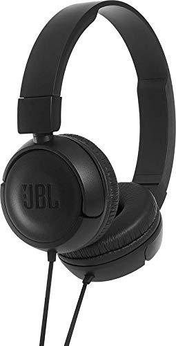 JBL T450 Cuffie Sovraurali – Cuffia On Ear con Microfono e Comando Remoto ad 1 Pulsante – JBL Pure Bass Sound, Leggere e Pieghevoli, Da Viaggio, Nero