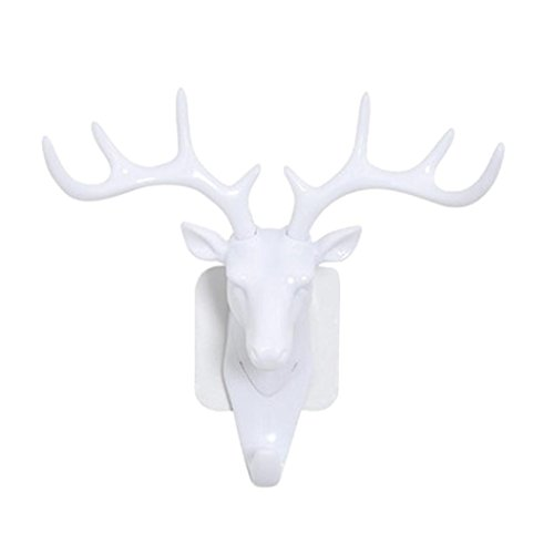 Aliciga アニマルヘッド オブジェ シカ 鹿の頭 置物ホルダー 高級 モダン 自己粘着性 ハンガー インテリア3D DIY 玄関 工芸品 壁飾り バッグ キー スティッキー 壁掛け ハンガーフック (ホワイト)