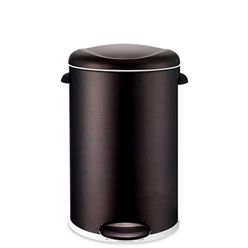 CJH Bote de Basura Hogar Mudo Bote de Basura de Acero Inoxidable Tipo de Pedal Bote de Basura Grande Sala de Estar Cocina Oficina (Color: Púrpura Tamaño: 12L),5L-Negro