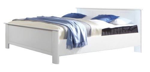 Wimex 985351 Bett 160 x 200 cm Liegefläche, Aufstellmaß 169 x 85 x 210 cm, höhenverstellbar, Landhausoptik, Front und Korpus alpinweiß