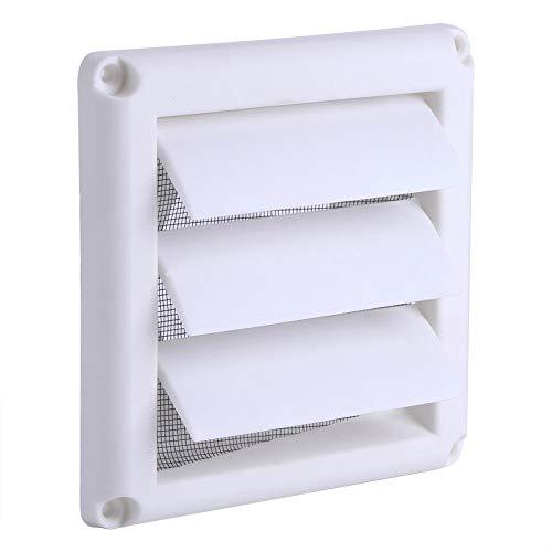 1-teilige Kunststoff-Lüftungsgitterabdeckung 3 Klappen Wandkanal-Lüftungsgrill mit netto Neuem beleuchteten Kühlergrill Upgrade für Ventilatoren für Badezimmer mit Fliegengitter Weiß(15 * 15CM)