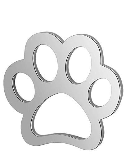 Sadingo Conectores de joyas de acero inoxidable (10 unidades de 12 mm), diseño de huellas de perro,...