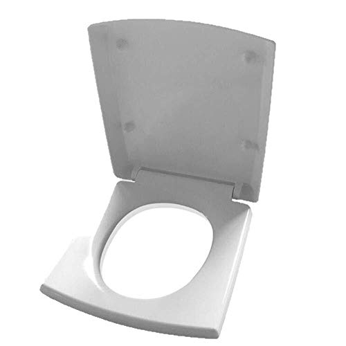 Dongyd Tapa del inodoro Trapezoidal Cuadrada del Asiento del Inodoro con Almohadilla amortiguadora Cubierta de Inodoro Ultra Resistente de liberación rápida for baño y baño