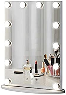LUXFURNI Hollywood Vintage Tabletop Makeup Mirror Dimmable LED Light w/USB-Powered, Touch Control, Cold/Warm Light (L)