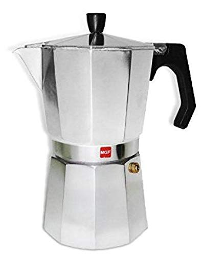 M MAGEFESA - Cafetera modelo KENIA de aluminio grueso - Pomo y Mangos ergonómicos de baketila toque frio, 9 Tazas