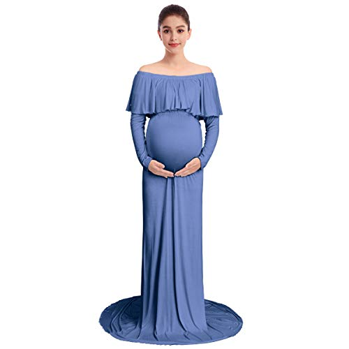 Women's Elegant Off Shoulder Ruffles Long Sleeve Maternity Dress Slim Fit Floor Length Wedding Party Evening Gown Baby Shower Long Maxi Photography Nursing Dress Photo Shoot Props Blue XX-L