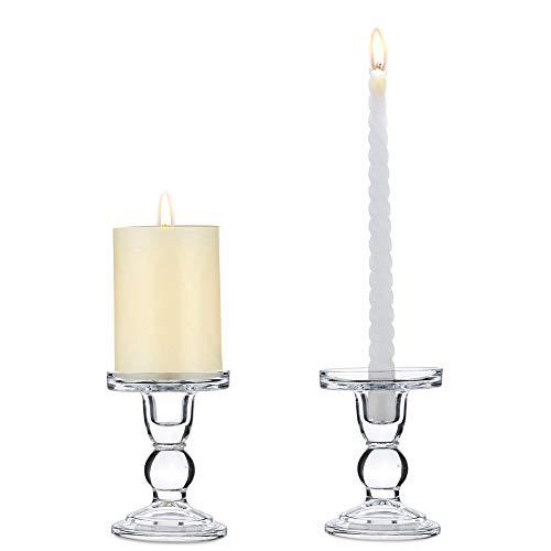 Nuptio 2 Stück Klarglas Pillar Taper Kerzenhalter, 11.5cm Höhe Dual Verwendet Leuchterständer für Pillar Oder Taper Leuchter, Kerzenständer Glas Tischdeko Weihnachten, Kerzenhalter Stabkerze