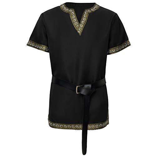 mittelalterliches Tunika Ritterkostüm Wikinger Krieger T-Shirt schwarz,xx-Large