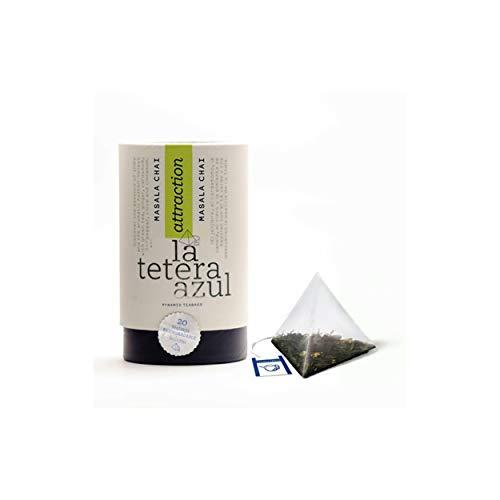 LA TETERA AZUL Té Verde Premium Con Canela Y Jengibre. Infusión Adelgazante. Masala Chai. Bote De 20 Pirámides.