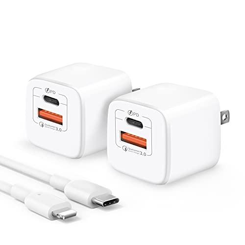 【2個入りセット】PD 20W USB-C 充電器 2ポート Type C 急速充電器(PDケーブル付き/USB-C&USB -A/PSE認証済/Power Delivery 3.0/超小型) ACアダプター 軽量 スマホ充電器 iPhone 12 / 12 Pro / 11/iPad Air/Androidなど各種機器対応