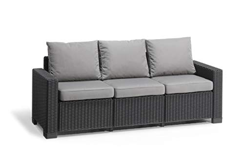 Allibert by Keter California 3 Seater Rattan Sofa Outdoor Garden Furniture- Graphite with Grey Cushions