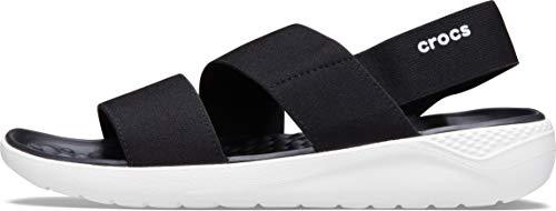 Crocs Literide Stretch Sandal Women, Sandalias de Punta Descubierta para Mujer, Negro (Black/White 066), 39/40 EU